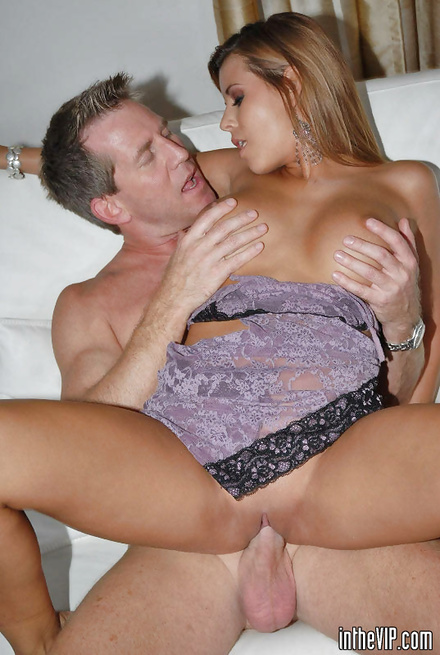 Woman in purple dress is getting her lovely holes banged