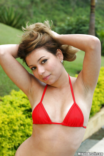 Filthy gift for sensational Latina lady wearing red bikini