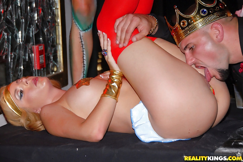 Babes and guys wearing uniform are having gangbang party