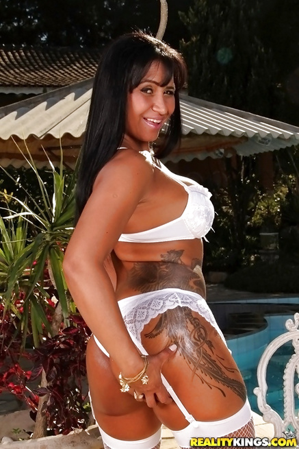 Busty woman in white lingerie is fucking wildly