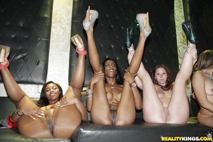 White and ebony babes are enjoying hardcore group sex