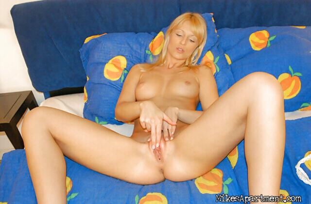 Hot blonde is enjoying extremely sweet masturbation