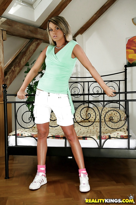 Blonde in pink shoes wants to be penetrated hard