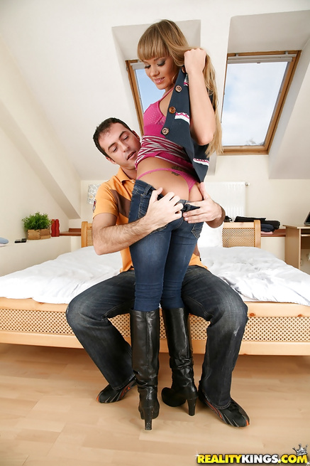 Babe in pink socks is showing her great cowgirl skills