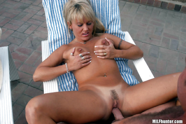 MILF is sunbathing alone and being fucked hard