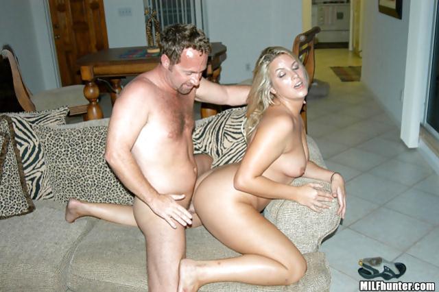 Enjoying wild sex with blonde MILF in black dress