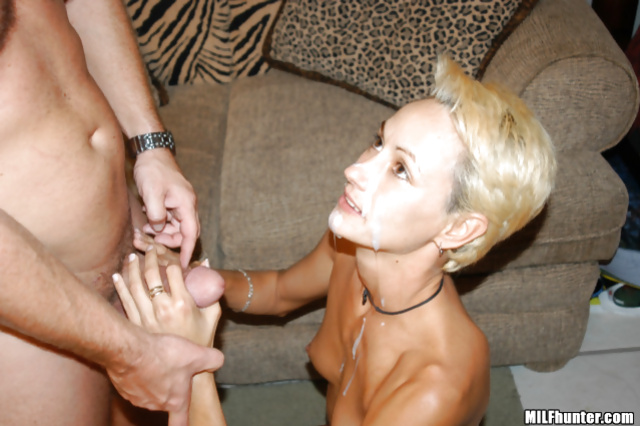 Blonde having short hair loves playing with big dicks