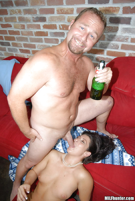 Man is drinking alcohol and fucking sweet brunette