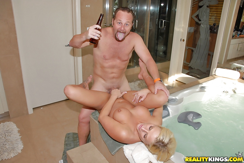 Wet blonde is drinking and fucking with the partner