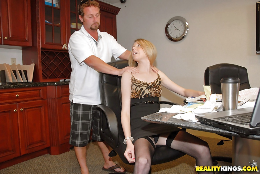 Sexy business lady is getting banged in the office