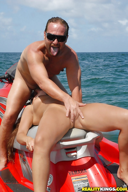 Wild sex of two partners in the middle of the sea