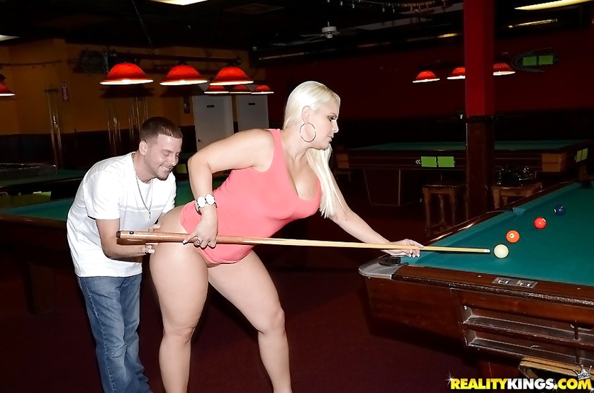 Gentle woman is getting her sweet holes drilled on the table