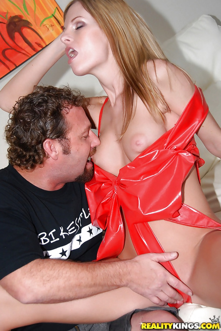 Woman in red in glad to play with extremely huge penis