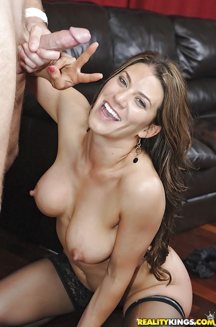 Wonderful MILF loves having sex on the black sofa