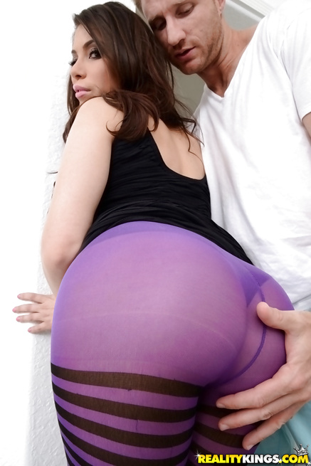 Her purple stockings are driving her partner crazy
