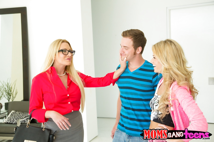 Passionate ladies are presenting young man with great emotions
