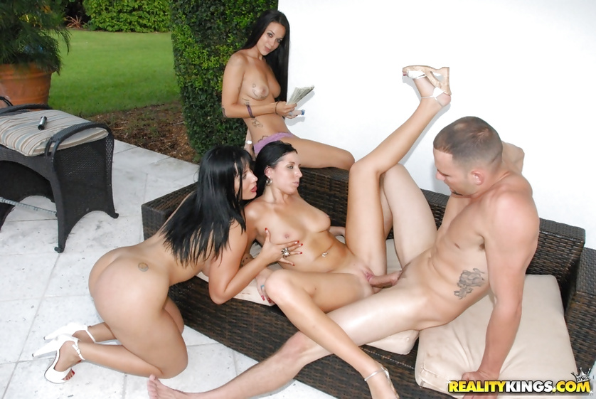 Three slutty chicks are getting penetrated by one man