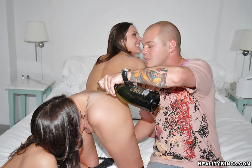 Strong guy is having threesome with two wild lesbians