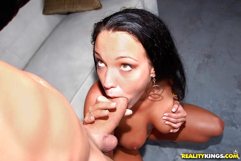 Lady in black dress is getting her juicy holes banged deep