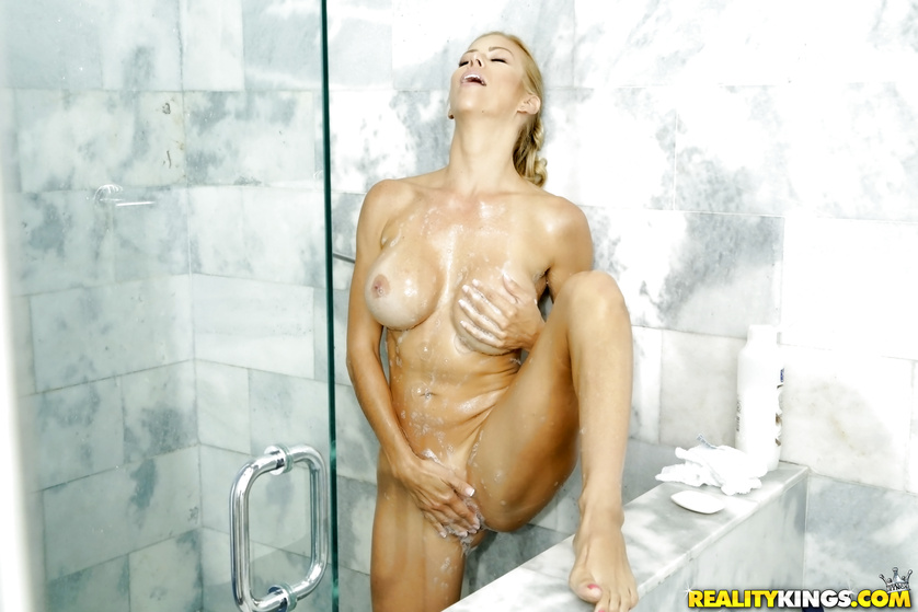 Banging naked blonde hard in the bathroom