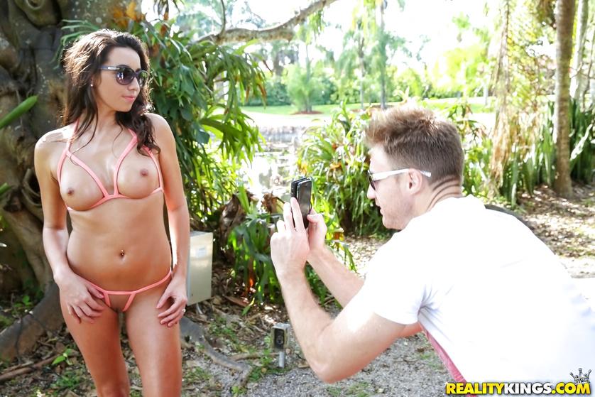 Glamorous woman in bikini is getting fucked hard outdoors