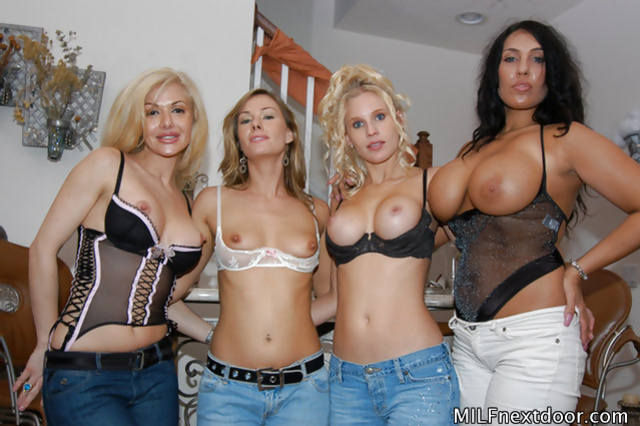 Filthy sluts with big tits are enjoying sensational group fuck