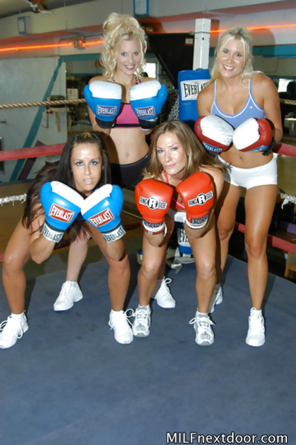 Four women are boxing in the gym and drilling their holes in bed