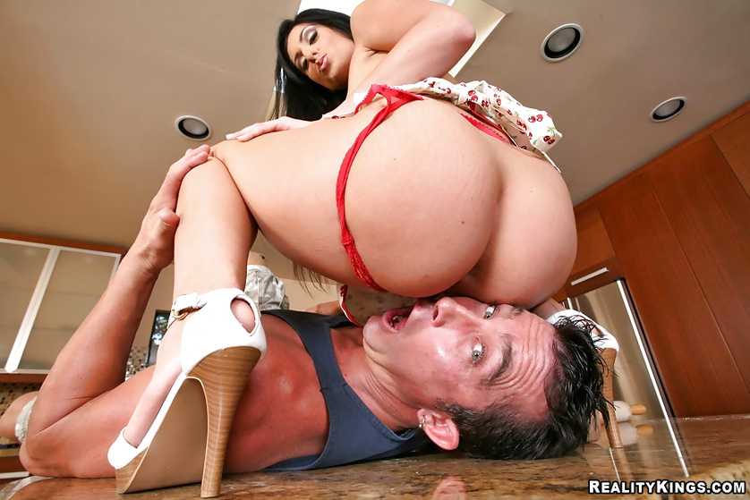 Latina MILF is getting punished hard in the kitchen