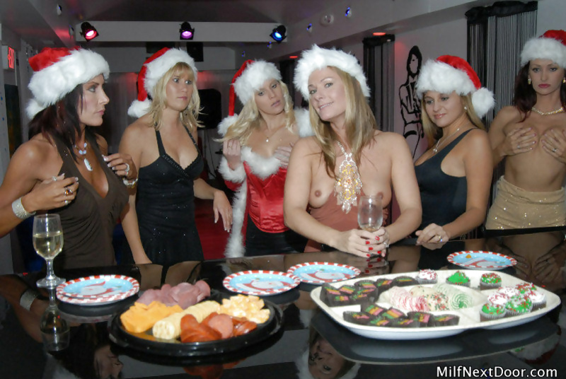 Six horny sluts are enjoying gangbang party on Christmas