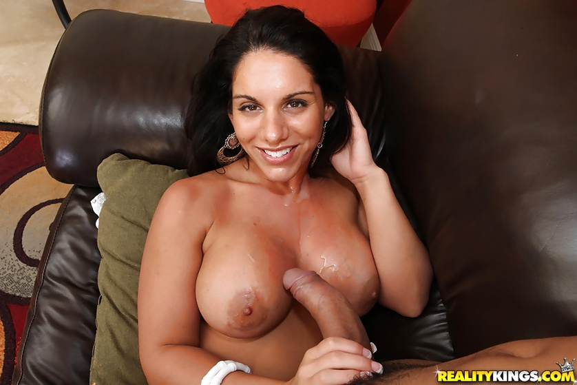 Big-tittied brunette gets her juicy holes tortured hard