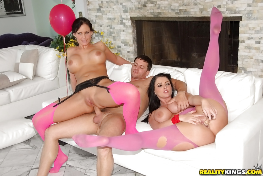 Women in pink stockings are getting their holes tortured