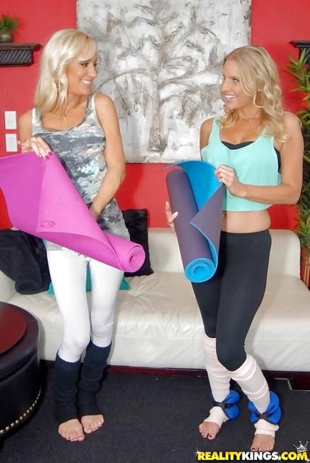 Yoga ladies are practicing sensational sex session