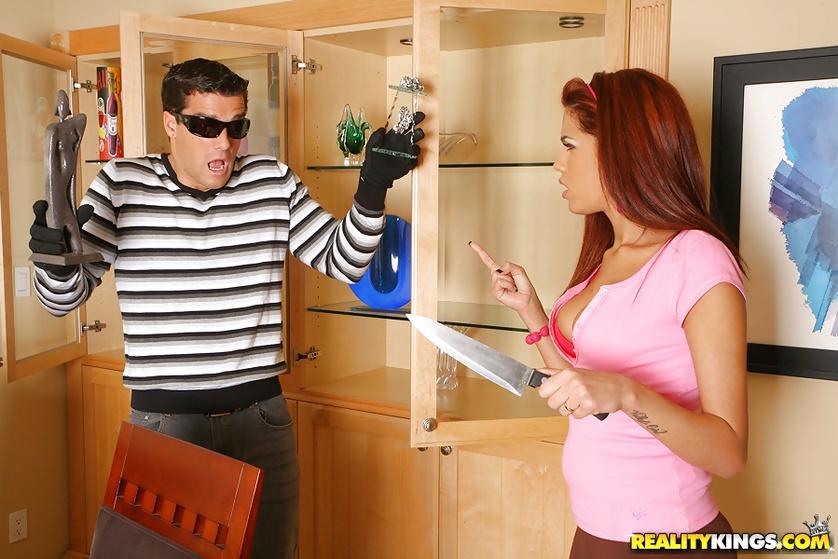 Lustful burglar is fucking sensational redhead lady hard