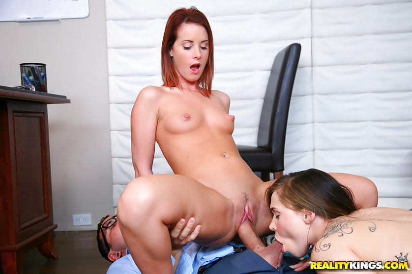 Sweet babes are having wild threesome with strong man
