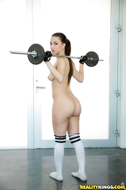 Sport brunette gets her holes banged in the gym