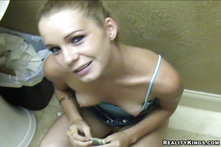 Filthy blonde is presenting stranger with blowjob