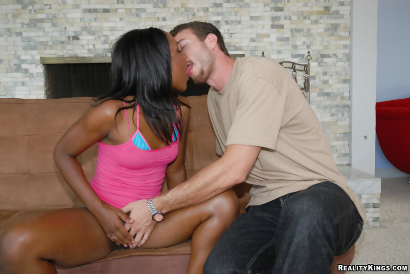 Tough man is making this ebony chick cry with orgasm