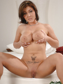 Great fuck scene reveals big ass and fake tits of a gorgeous pornstar Claire Dames while she has her shaved cunt nailed with a big cock.