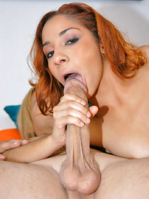 Pussy licking and pounding session features a gorgeous reality Latina redhead who has her tanned forms squeezed and cunt nailed.