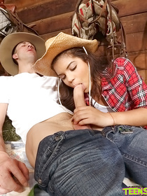 Sweet chick wearing cowgirl's uniform is fucking with her strong partner. She is showing him her tiny tits and getting her tender holes penetrated.