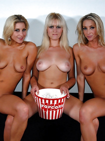 Big cinema hall is a great place for having unforgettable sex. These three lesbians are demonstrating their great fuck skills there with pleasure.