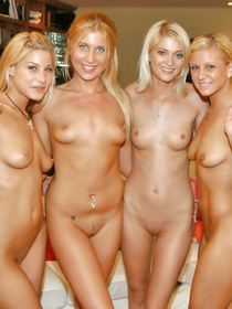 Wonderful sluts having white hair are enjoying extremely wild foursome. They are torturing each other's cunts and increasing tempo.