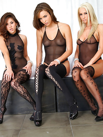 Busty babes are demonstrating awesome fuck skills with excitement. They are looking hot wearing black stockings and enjoying sweet closeness.