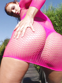 Tender girl wearing extremely hot pink fishnet can't stop fucking with her man. She is letting him drill her sweet ass hole and cover her face with cum.