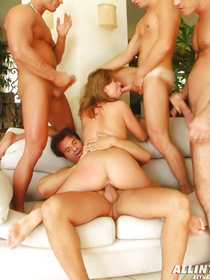 Appetitive blonde is demonstrating awesome fuck skills enjoying wild foursome with three strong fellows at the same time.