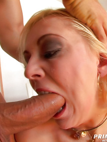 Amazingly cute blonde is taking passionate care of her man's aggregate. She is giving him unforgettable blowjob and getting drilled in hardcore manner.