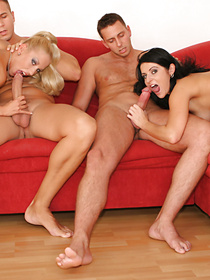 You are going to remember this foursome clip forever. There are two lovely babes in the big room practicing hardcore sex with their partners.