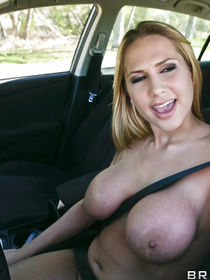 Blonde MILF started getting desperate for a moment there. Flashing her tits while driving? Finally, she found a guy that's worthy of her pussy.