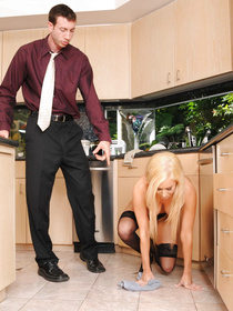 You can't go wrong with a busty blonde who doesn't mind cleaning around the house. This dude rewards her with brutal ass-blasting.