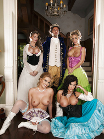 You could look for anachronisms, but you could also look at some sweet-ass busty bitches who are getting fucked together on a king-sized bed.